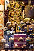 Turkish Muslim prayer garments caftan robe kufi skullcap or taqiyah (tagiya) at Mehmet Cetinkaya Gallery, Sultanahmet, Istanbul, Turkey