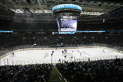 May 1, 2011; San Jose, CA, USA; The San Jose Sharks and the Detroit Red Wings face off during the first period of game two of the western conference semifinals of the 2011 Stanley Cup playoffs at HP Pavilion. The Sharks defeated the Red Wings 2-1. Mandatory Credit: Jason O. Watson / US PRESSWIRE