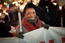 "10 December 2017, Oslo, Norway: In the evening of 10 December some 4,000 people from around the world gathered in central Oslo for a torch light march for peace. The event took place after the Nobel Peace Prize award 2017, awarded to the International Campaign to Abolish Nuclear Weapons (ICAN), for ""its work to draw attention to the catastrophic humanitarian consequences of any use of nuclear weapons and for its ground-breaking efforts to achieve a treaty-based prohibition of such weapons"". Among the crowd were more than 20 ""Hibakusha"", survivors of the atomic bombings in Hiroshima and Nagasaki, as well as a range of activists, faith-based organizations and others who work or support work for peace, in one or another way. Here, Hayley Ramsay-Jones from Soka Gakkai International. Soka Gakkai is a worldwide Buddhist network which promotes peace, culture and education through personal transformation and social contribution. It is a Japanese religious movement founded in 1930."