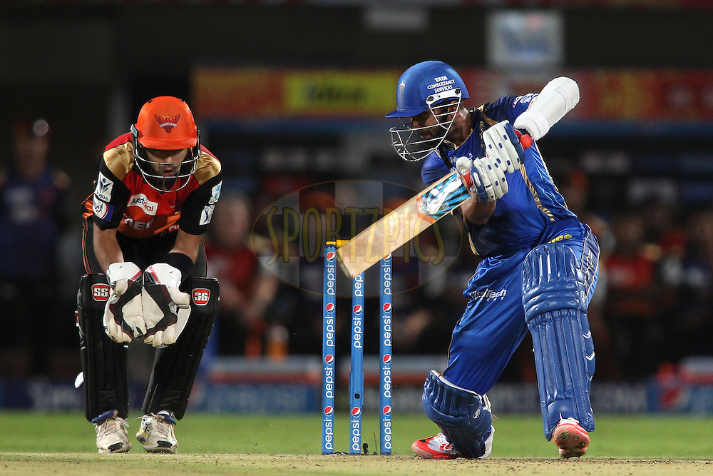 Ajinkya Rahane of Rajasthan Royals drives a delivery through the covers during match 11 of the Pepsi IPL 2015 (Indian Premier League) between The Sunrisers Hyderabad and The Rajasthan Royals held at the ACA-VDCA Stadium in Visakhapatnam India on the 16th April 2015.<br /> <br /> Photo by:  Shaun Roy / SPORTZPICS / IPL