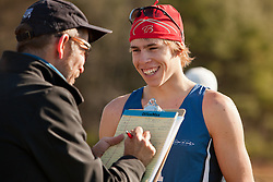 New England High School XC Championship, SIlas Eastman of Fryeburg Academy talks with reporter after 3rd place finish