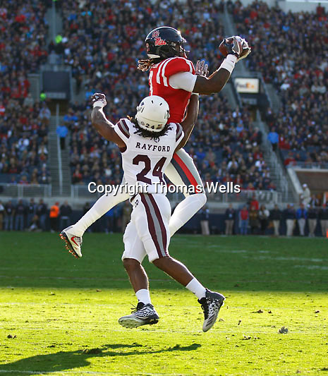 Thomas Wells | Buy at PHOTOS.DJOURNAL.COM<br /> Damore'ea Stringfellow scores Ole Miss' first touchdown Saturday night.