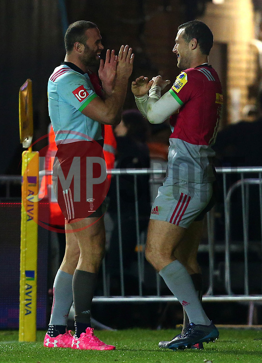 Tim Visser of Harlequins celebrates with Jamie Roberts of Harlequins after scoring a try - Mandatory by-line: Robbie Stephenson/JMP - 06/10/2017 - RUGBY - Twickenham Stoop - London, England - Harlequins v Sale Sharks - Aviva Premiership