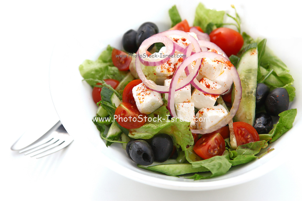 Greek Salad with Feta Cheese tomatoes, cucumbers, lettuce, peppers and black olives