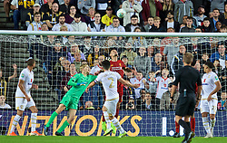 MILTON KEYNES, ENGLAND - Wednesday, September 25, 2019: Liverpool's Dejan Lovren blocks a shot on the line from MK Dons' George Williams during the Football League Cup 3rd Round match between MK Dons FC and Liverpool FC at Stadium MK. (Pic by David Rawcliffe/Propaganda)