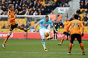 Derby County midfielder Bradley Johnson plays the ball during the Sky Bet Championship match between Wolverhampton Wanderers and Derby County at Molineux, Wolverhampton, England on 27 February 2016. Photo by Alan Franklin.
