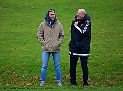 CARDIFF, WALES - Monday, November 19, 2018: Wales' head of public affairs Ian Gwyn Hughes (R) and Nathan during a training session at the Vale Resort ahead of the International Friendly match between Albania and Wales. (Pic by David Rawcliffe/Propaganda)