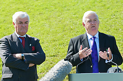 CARDIFF, WALES - Wednesday, September 9, 2009: President Phil Pritchard addresses the media alongside General Secretary David Collins at the opening of the Wales national team training pitch ahead of the FIFA World Cup Qualifying Group 3 match against Russia. (Pic by David Rawcliffe/Propaganda)