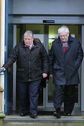 © Licensed to London News Pictures. 1/03/2016. Ballymena, Northern Ireland, UK. Stanley McCombe(L) who lost his wife Ann and  Michael Gallagher who lost his son Aiden in the 1998 Omagh Bomb, leave Ballymena Court House after the case against a man accused of murdering 29 people in the Real IRA bomb attack in Omagh in 1998 has collapsed. Seamus Daly, 45, from Jonesborough, County Armagh was arrested in 2014. The 43-year-old bricklayer, originally from Culloville, County Monaghan also faced counts of causing the explosion.. Photo credit : Paul McErlane/LNP