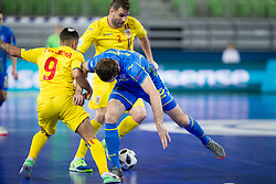 Felipe Oliveira of Romania and Mykola Bilotserkivets of Ukraine during futsal match between Romania and Ukraine at Day 4 of UEFA Futsal EURO 2018, on February 2, 2018 in Arena Stozice, Ljubljana, Slovenia. Photo by Urban Urbanc / Sportida