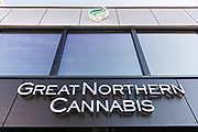 The Great Northern Cannabis shop along 4th Avenue in downtown Anchorage, Alaska. Recreational and medical use of cannabis is legal in Alaska.