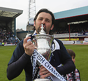 Dundee manager Paul Hartley with the championship trophy - Dundee v Dumbarton, SPFL Championship, Helicopter Saturday at Dens Park<br /> <br />  - &copy; David Young - www.davidyoungphoto.co.uk - email: davidyoungphoto@gmail.com