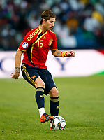 Sergio Ramosof Spain and Real Madrid FIFA Confederations Cup South Africa 2009 <br /> Spain   v Iraq Group B at Free State  Stadium Mangaung / Bloemfontein South Africa<br /> 17/06/2009 Credit Colorsport / Kieran Galvin