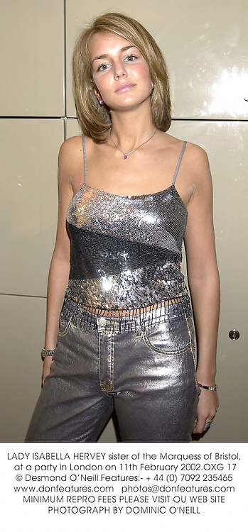 LADY ISABELLA HERVEY sister of the Marquess of Bristol, at a party in London on 11th February 2002.OXG 17