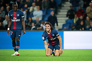 Edinson Roberto Paulo Cavani Gomez (El Matador) (El Botija) (Florestan) (PSG) on the floor after been hurted will have a penalty, Moussa DIABY (PSG) during the French Championship Ligue 1 football match between Paris Saint-Germain and AS Saint-Etienne on September 14, 2018 at Parc des Princes stadium in Paris, France - Photo Stephane Allaman / ProSportsImages / DPPI