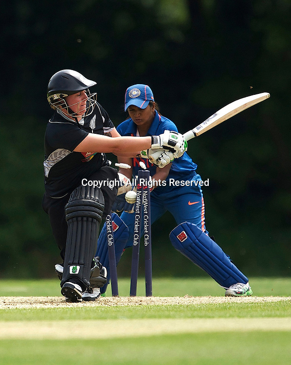 Southgate, England. Kate Broadmore of New Zealand is clean bowled during during the India Women vs White Ferns NatWest Womens Quadrangular Series Women's One-Day Match at The Walker Cricket Ground, Southgate.