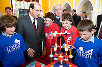 Students from St Pats NS and Brother Niall Coll  at the Science and Technology Festival programme launch at NUI, Galway  with  Mr. William Hawkins, Chairman and CEO of Medtronic Inc., who employ 2000 people in Ireland and 44,000 worldwide in the Medical devices sector. The Festival runs from the 8th till the 21st of November in County Galway. Photo:Andrew Downes.