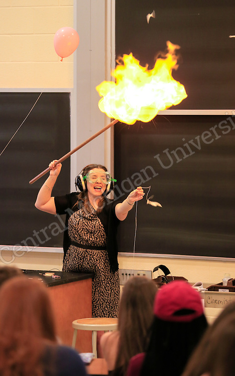 Dr. Janice Tomasik teaches Chemistry 131 as classes begin Monday August 31, 2015. The first day she showed students hydrogen gas inside a balloon touched to a flame and the reaction. Photos by Steve Jessmore/Central Michigan University