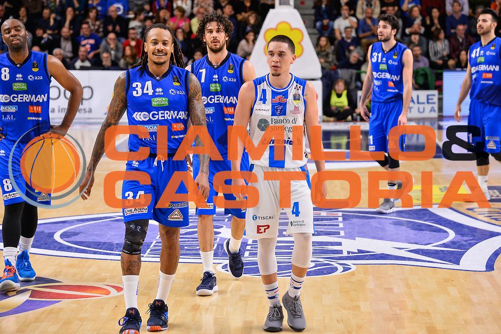 David Moss, Scott Bamforth<br /> Banco di Sardegna Dinamo Sassari - Germani Basket Leonessa Brescia<br /> Legabasket Serie A LBA PosteMobile 2017/2018<br /> Sassari, 08/04/2018<br /> Foto L.Canu / Ciamillo-Castoria
