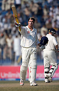 Kevin Pietersen celebrates his century during the second test match between Pakistan and England in Faisalabad. Photo © Graham Morris (Tel: +44(0)20 8969 4192 Email: sales@cricketpix.com)