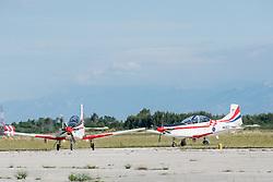 28.06.2015, Zadar, CRO, Akrobatikgruppe Wings of Storm, im Bild die Flugzeuge während der neuen Flugshow, aufgenommen am 27. Mai // during a new flight program of the acrobatic group Wings of storm Zadar, Croatia on 2015/06/28. EXPA Pictures © 2015, PhotoCredit: EXPA/ Pixsell/ Dino Stanin<br /> <br /> *****ATTENTION - for AUT, SLO, SUI, SWE, ITA, FRA only*****