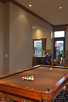 Billiard table leading onto dining area