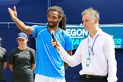 Dustin Brown of Germany is interviewed after winning the AEGON Manchester Trophy Mens Final against Yen-Hsun Lu of Chinese Taipei  - Mandatory by-line: Matt McNulty/JMP - 05/06/2016 - TENNIS - Northern Tennis Club - Manchester, United Kingdom - AEGON Manchester Trophy