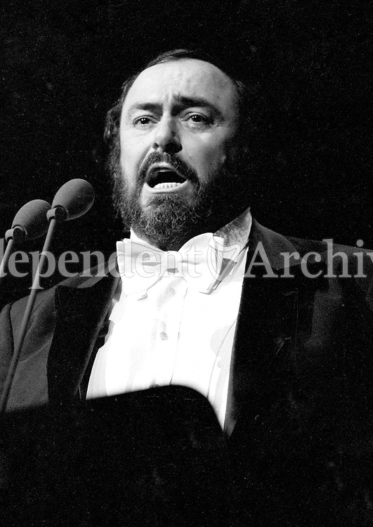 Italian Tenor Luciano Pavarotti in Concert at the RDS, Dublin,circa April 1990 (Part of the Independent Newspapers Ireland.NLI Collection).