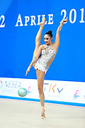 Hayakawa Sakura during qualifying at ball in Pesaro World Cup 10 April 2015. Sakura is a Japan rhythmic gymnastics athlete born March 17, 1997 in Osaka, Japan. She appeared in Senior competitions in the 2013 season.