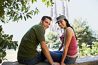Young couple enjoying view in Barcelona portrait