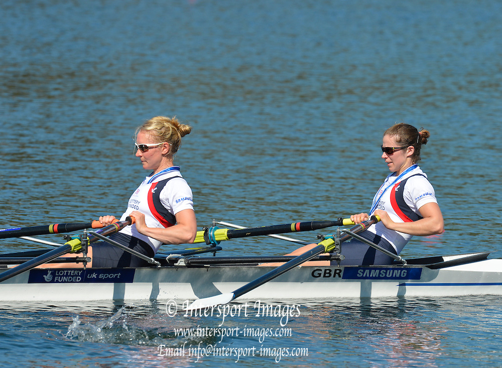 Sydney, Australia.  GBR LW2X Bow, Kathryn TWYMAN and Imogen Walsh.  FISA World Cup I. and  Sydney International Rowing Regatta. Sydney International Rowing Centre, Penrith Lakes, NSW. Sunday   24/03/2013 [Mandatory Credit. Peter Spurrier/Intersport Images]..