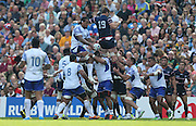 Samoa Teofilo Paulo jumping for a line out during the Rugby World Cup 2015 match between Samoa and USA at the Brighton Community Stadium, Falmer, United Kingdom on 20 September 2015.