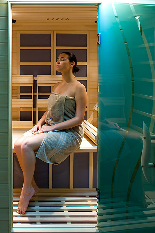 Female model in sauna bath for Tips n Toes spa, Grand Cayman