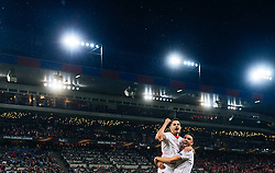 18.05.2016, St. Jakob Park, Basel, SUI, UEFA EL, FC Liverpool vs Sevilla FC, Finale, im Bild Jubel bei Vitolo (FC Sevilla), Iborra (FC Sevilla) // Celebration from Vitolo (FC Sevilla) Iborra (FC Sevilla) during the Final Match of the UEFA Europaleague between FC Liverpool and Sevilla FC at the St. Jakob Park in Basel, Switzerland on 2016/05/18. EXPA Pictures © 2016, PhotoCredit: EXPA/ JFK