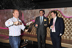 Left to right, TOM TUKE-HASTINGS, IAN THORLEY and  TOM PARKER BOWLES at a party to celebrate the launch of Pomp magazine - a magazine representing London Luxury without the Ceremony focusing on the luxury, fashion and culture of the Capital, hosted by Tom Parker Bowles and the Directors of Pomp Magazine held at The Cuckoo Club, Swallow Street, London on 17th November 2011.