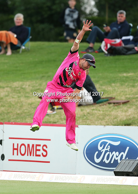 Knights Peter Bocock attempts a catch on the boundary during the Burger King Super Smash Twenty20 cricket match Knights v Stags played at Bay Oval, Mount Maunganui, New Zealand on Wednesday 27 December 2017.<br /> <br /> Copyright photo: © Bruce Lim / www.photosport.nz