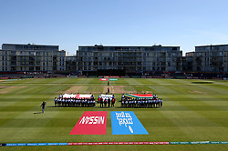 England Women and South Africa Women line up for the national anthems - Mandatory by-line: Robbie Stephenson/JMP - 05/07/2017 - CRICKET - County Ground - Bristol, United Kingdom - England Women v South Africa Women - ICC Women's World Cup Group Stage