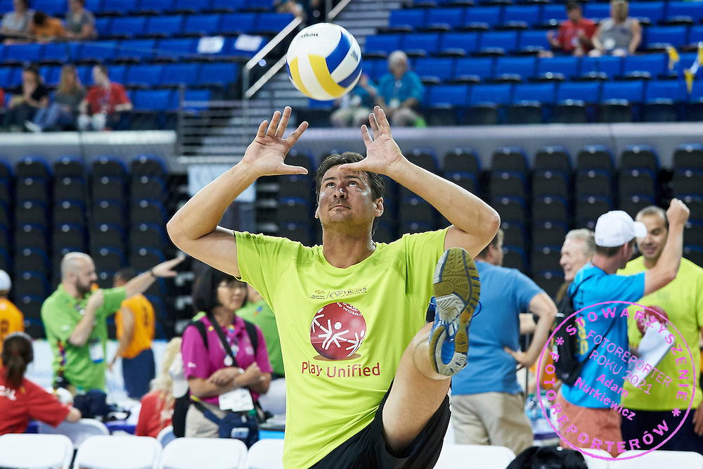 SO Ambassador Vladimir &quot;Vanja&quot; Grbic a former Serbian volleyball player (he won a gold medal in the 2000 Summer Olympics and a bronze medal in 1996 at Atlanta) in action while Unified Volleyball Experience during sixth day of the Special Olympics World Games Los Angeles 2015 on July 30, 2015 at Pauley Pavilion at UCLA (University of California Los Angeles) in Los Angeles, USA.<br /> <br /> USA, Los Angeles, July 30, 2015<br /> <br /> Picture also available in RAW (NEF) or TIFF format on special request.<br /> <br /> For editorial use only. Any commercial or promotional use requires permission.<br /> <br /> Adam Nurkiewicz declares that he has no rights to the image of people at the photographs of his authorship.<br /> <br /> Mandatory credit:<br /> Photo by &copy; Adam Nurkiewicz / Mediasport