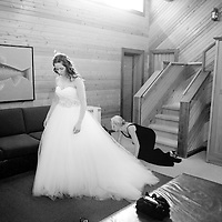 Lisa gets ready for her wedding at the Brew Creek Lodge in Whistler, British Columbia.