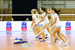 Girls cleaning the floor during the volleyball match between Calcit Ljubljana and VakifBank Istanbul at 2016 CEV Volleyball Champions League, Women, League Round in Pool B, 1st Leg, on November 26, 2016, in Hala Tivoli, Ljubljana, Slovenia.  (Photo by Matic Klansek Velej / Sportida)