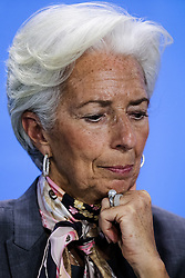 """Christine Lagarde, Managing Director of the International Monetary Fund attends a joint press conference in Berlin, Germany, on April 5, 2016. Leaders of several international economic organizations called on governments to take """"decisive action"""" to strengthen reforms and boost growth at a meeting hosted by German Chancellor Angela Merkel in Berlin on Tuesday. EXPA Pictures © 2016, PhotoCredit: EXPA/ Photoshot/ Zhang Fan<br /> <br /> *****ATTENTION - for AUT, SLO, CRO, SRB, BIH, MAZ, SUI only*****"""
