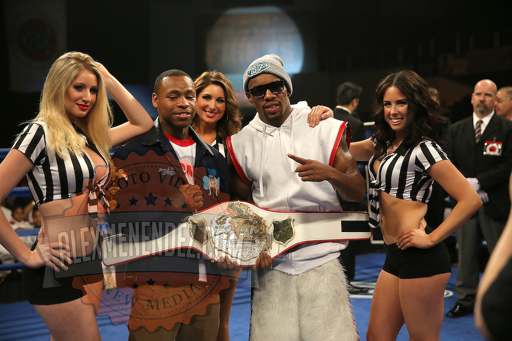 """Semi-Final winners Brandon Adams (left) and Willie Monroe Jr. celebrate their victories during the ESPN """"Boxcino"""" boxing tournament at Turning Stone Resort Casino on Friday, April 18, 2014 in Verona, New York.  (AP Photo/Alex Menendez)"""