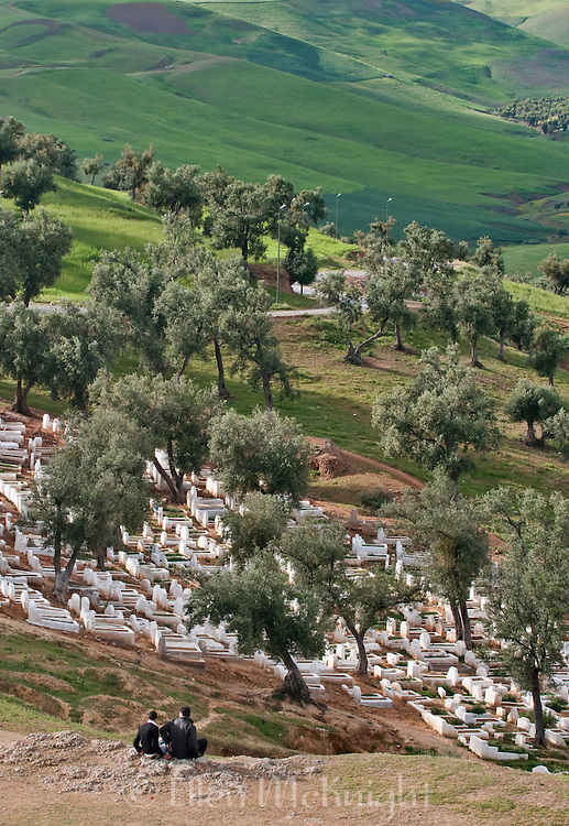 Moroccan cemetery and countryside in Fes Morocco