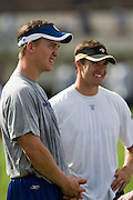 JACKSON, MS - AUGUST 26:  Quarterbacks Peyton Manning of the Indianapolis Colts and Drew Brees of the New Orleans Saints share a laugh before the game on August 26, 2006 at Veterans Memorial Stadium in Jackson, Mississippi.  The Colts won 27 to 14.  (Photo by Wesley Hitt/Getty Images) *** Local Caption *** Peyton Manning and Drew Brees