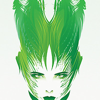 Female face with green trees