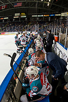 KELOWNA, CANADA - JANUARY 25:  Kelowna Rockets' assistant coach Adam Brown stands on the bench and speaks to Kyle Topping #24 of the Kelowna Rockets against the Victoria Royalson January 25, 2019 at Prospera Place in Kelowna, British Columbia, Canada.  (Photo by Marissa Baecker/Shoot the Breeze)