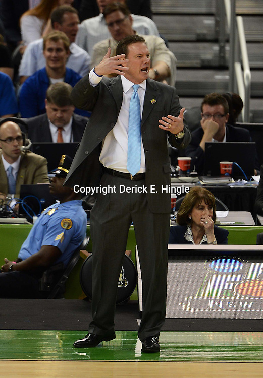 Mar 31, 2012; New Orleans, LA, USA; Kansas Jayhawks head coach Bill Self reacts against the Ohio State Buckeyes during the first half in the semifinals of the 2012 NCAA men's basketball Final Four at the Mercedes-Benz Superdome. Mandatory Credit: Derick E. Hingle-US PRESSWIRE
