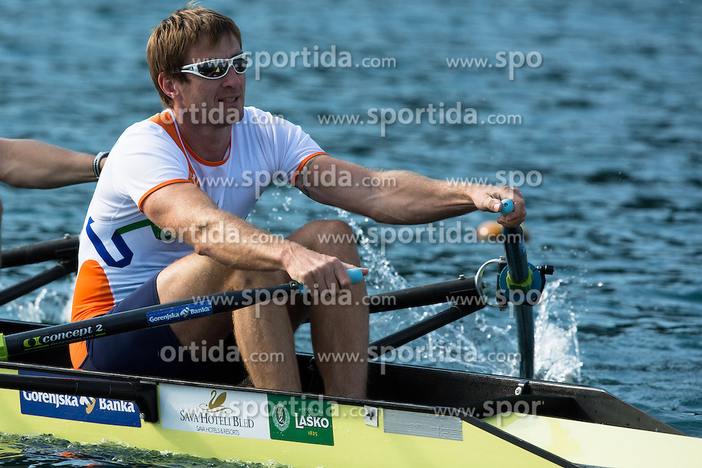 Iztok Cop (stroke) during rowing at Slovenian National Championship and farewell of Iztok Cop, on September 22, 2012 at Lake Bled, Ljubljana Slovenia. (Photo By Matic Klansek Velej / Sportida)