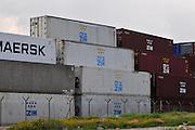 Israel, Haifa, Shipping containers at a port awaiting export