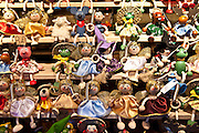 Angels, reindeer and other pendant ornaments at Christmas market, Winter Wonderland, in Hyde Park, London